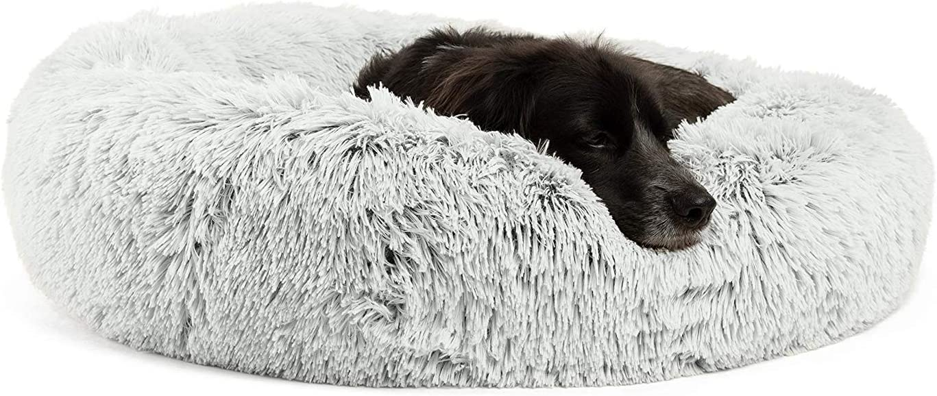 """Best Friends by Sheri Calming Shag Vegan Fur Donut Cuddler, Frost, Medium/30"""" x 30"""" (DNT-SHG-FRS-30ZP-VP) : Pet Supplies"""