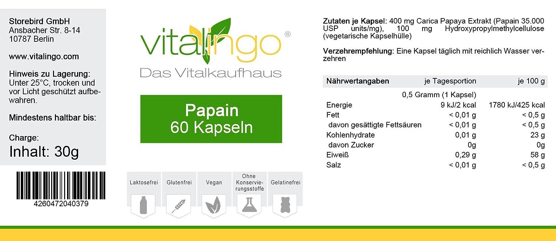 Papain enzima cápsulas de vitalingo - 60 Papain cápsulas à 500 mg (400mg Papain por cápsula): Amazon.es: Salud y cuidado personal