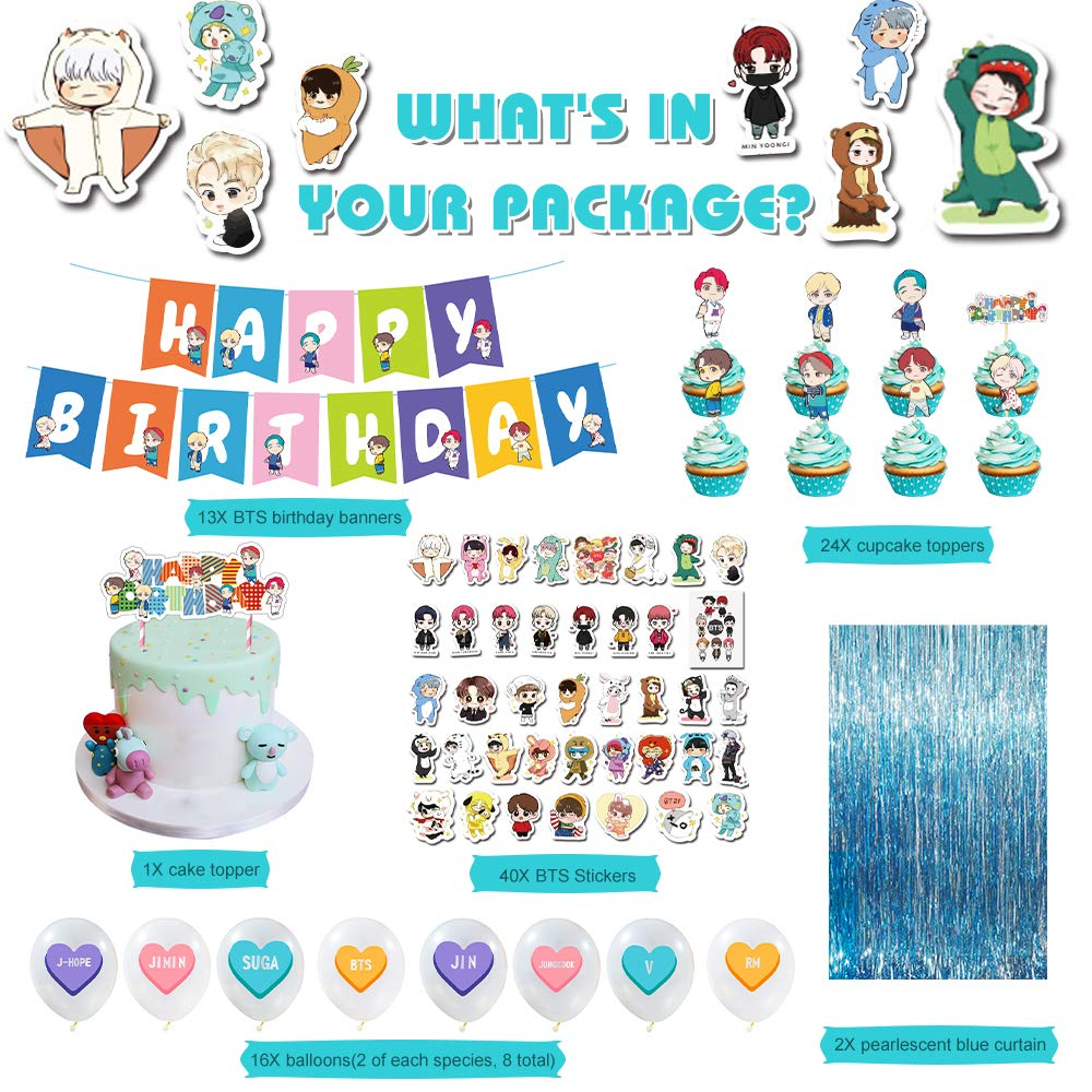 Cake Topper 16 Balloons 24 Cupcake Toppers BTS Bangtan Boy Birthday Party Supplies Includes Banner
