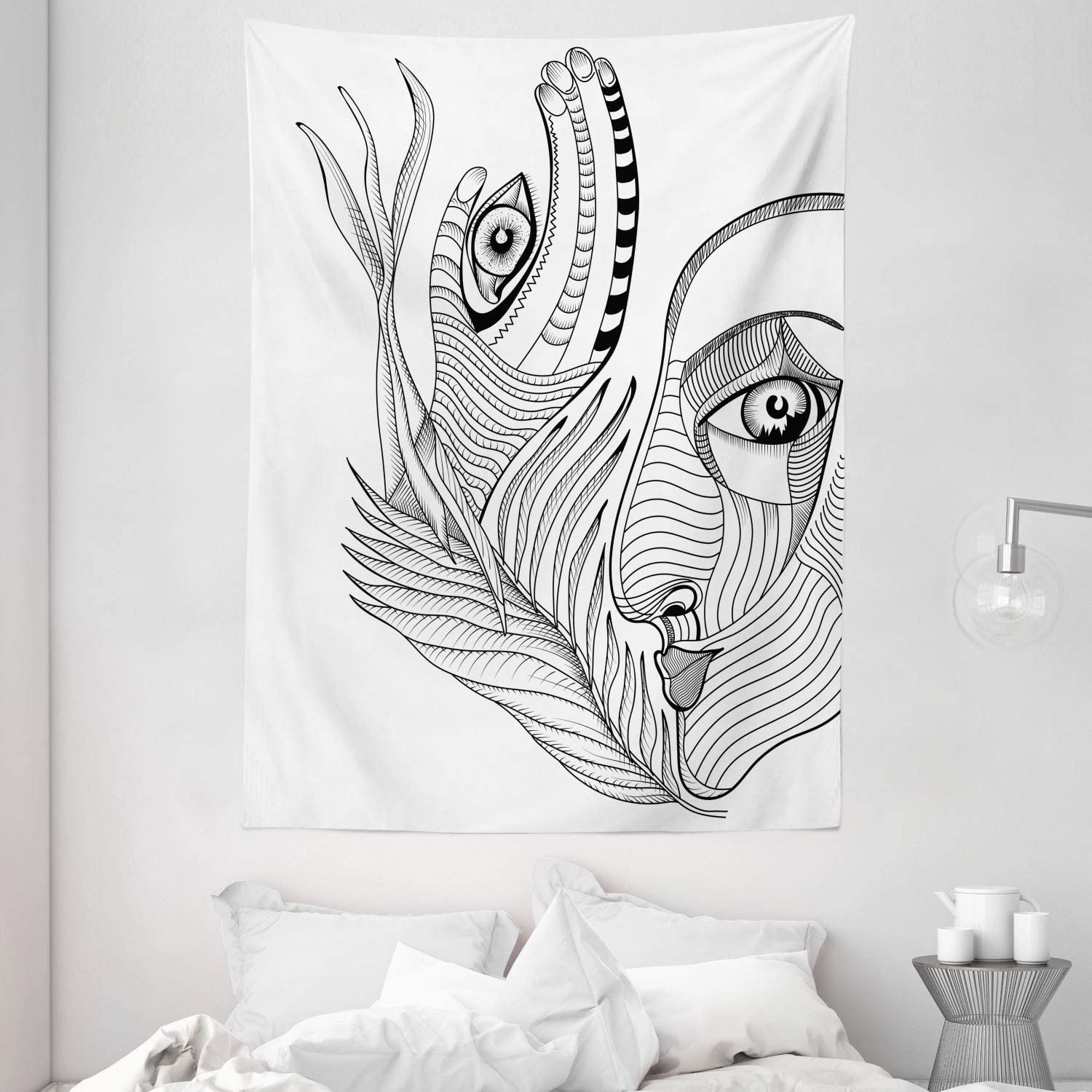 Ambesonne Psychedelic Tapestry, Trippy Abstract Surreal Human Faces Mehndi Tattoo Style Art, Wall Hanging for Bedroom Living Room Dorm Decor, 60