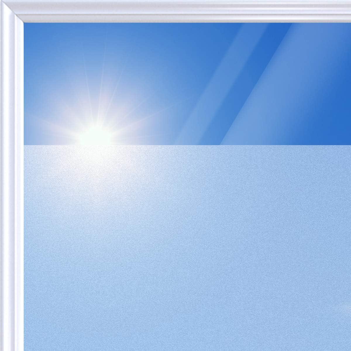 Navaris Lámina Adhesiva para Cristal - Vinilo translúcido para Ventana - Adhesivo para despacho Sala de reuniones casa Ducha - Rollo de 90 x 200M