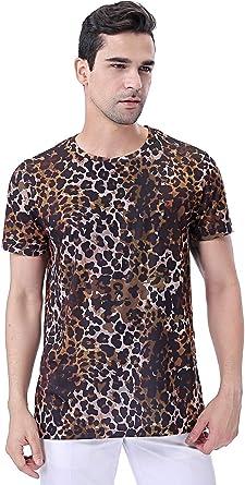 COSAVOROCK Camiseta de Estampado Hombre Leopardo Camuflaje de Manga Corta (L, Marrón): Amazon.es: Ropa y accesorios