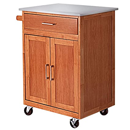 Giantex Wood Kitchen Trolley Cart Rolling Kitchen Island Cart With Stainless Steel Top Storage Cabinet Drawer And Towel Rack