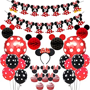 Red Black Minnie Themed Party Supplies Decorations, Mickey and Minnie Ears Honeycomb Balls, Happy Birthday Banner, Headband, Cake Toppers for Girl's Birthday