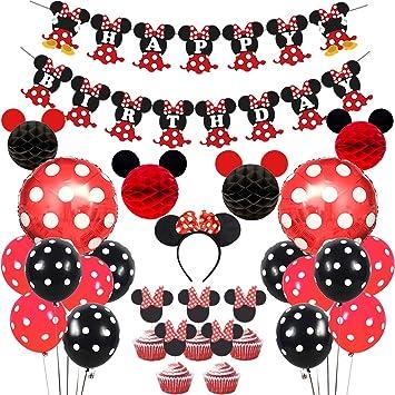 JOYMEMO Artículos Decorativos para Fiestas del Minnie Mouse Rojo Negro, Bolas Mickey Honeycomb, Pancarta de Feliz cumpleaños, Diadema, Adornos para ...