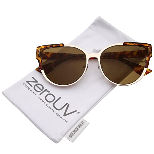 9cdc66730df Amazon.com  Women s Semi-Rimless Metal Frame Flat Lens Cat Eye Sunglasses  56mm (Tortoise Brown)  Clothing