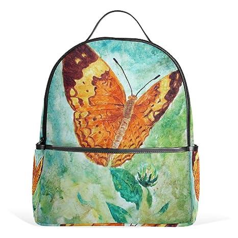 COOSUN Pintura de la Acuarela de la Mariposa Mochilas Escolares Mochilas para Niños Niñas Adolescentes Niños