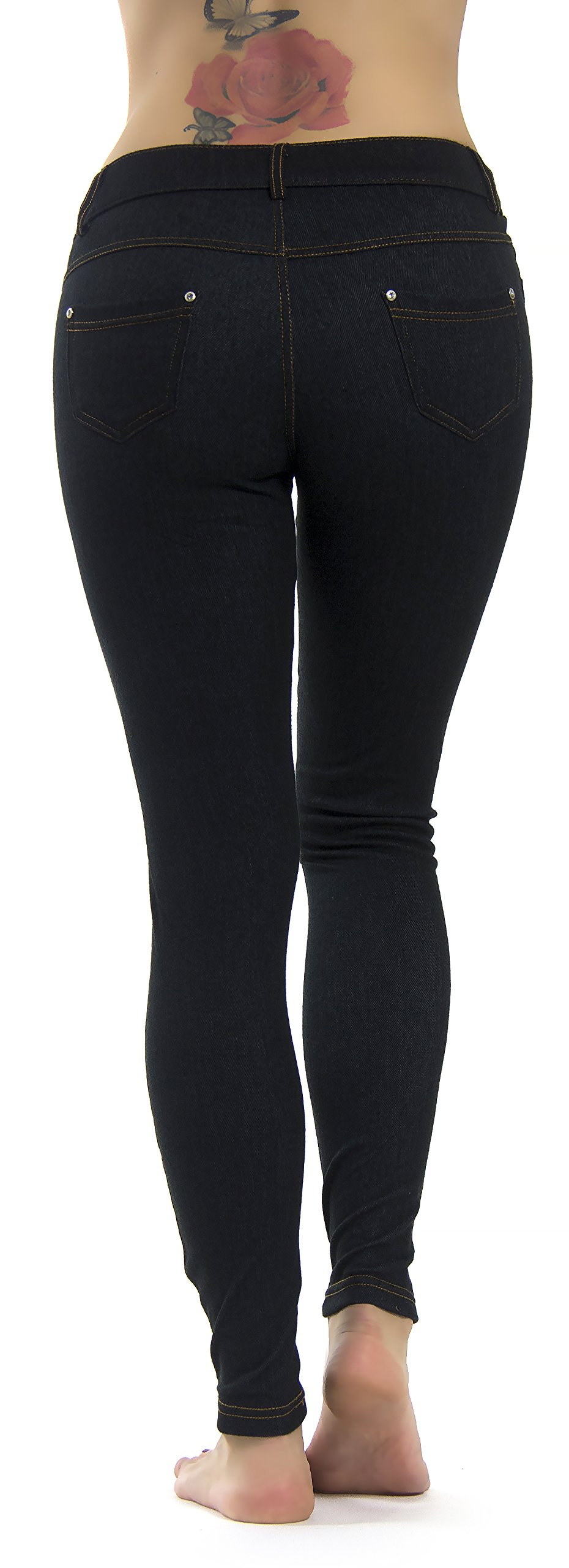 Prolific Health Women's Jean Look Jeggings Tights Slimming Many Colors Spandex Leggings Pants S-XXXL (Large/X-Large, Black Denim) by Prolific Health (Image #4)