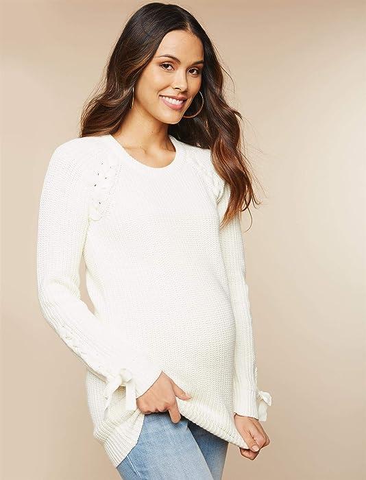 bb23e876fd974 Motherhood Lace Trim Maternity Sweater. Motherhood Lace Trim Maternity  Sweater Cream. Back