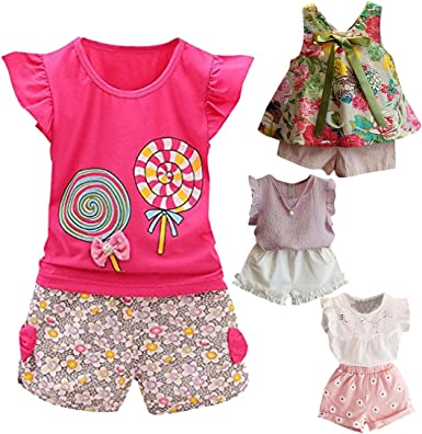 Pants Set Clothes 2-8T Cotton Gift for Children Baby Girl Short Sleeve T-shirt