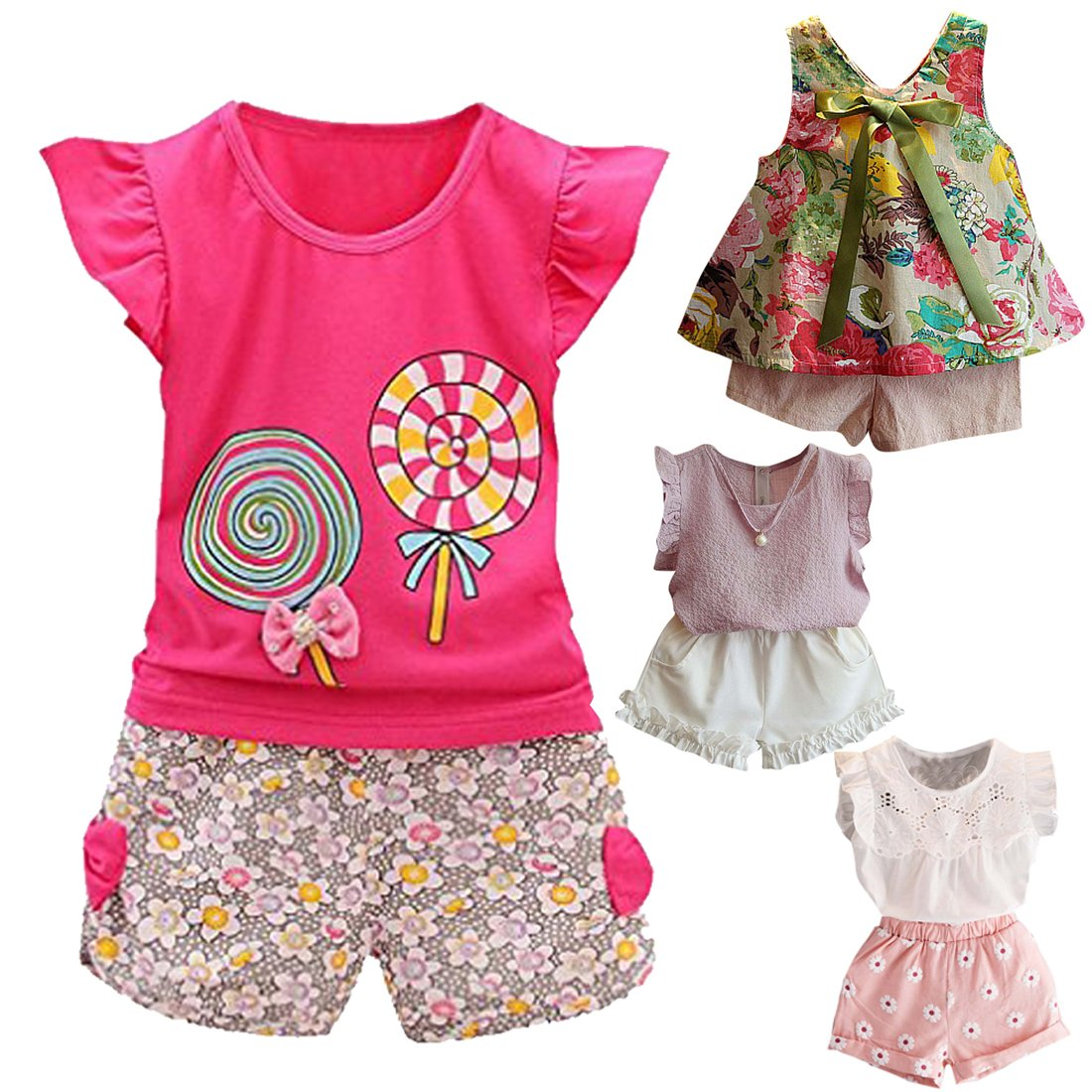 c56ec27c8 Amazon.com: Fabal 2Pc Baby Girl Clothes Summer Tee +Short Pants Kids Girls  Casual Outfits Lolly: Clothing