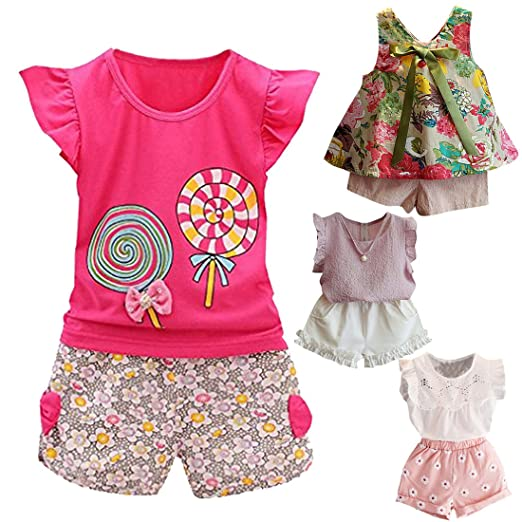 dc0393296ede Fabal 2Pc Baby Girl Clothes Summer Tee +Short Pants Kids Girls Casual  Outfits Lolly (