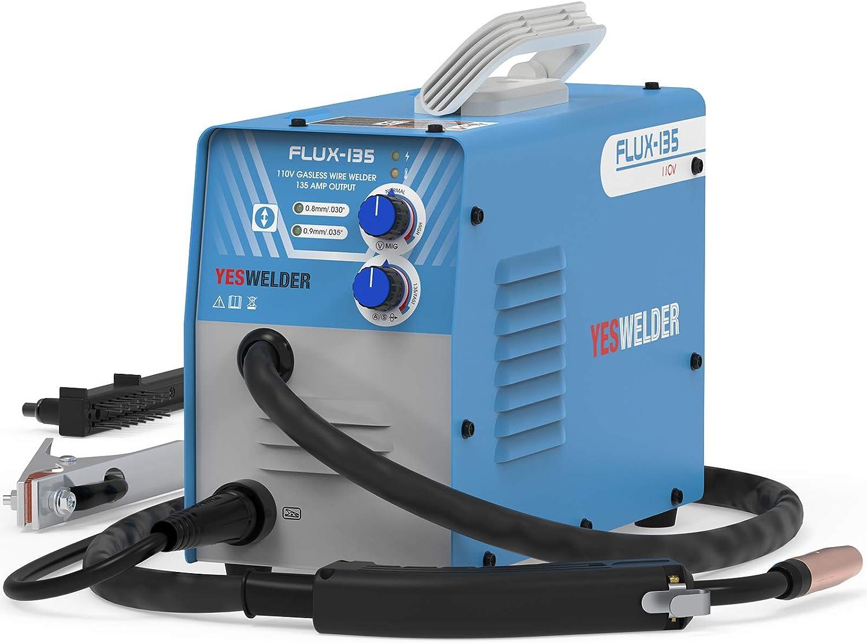 YESWELDER FLUX-135 Flux Core MIG Welder, 135A Gasless IGBT Inverter Welding Machine 110V - -