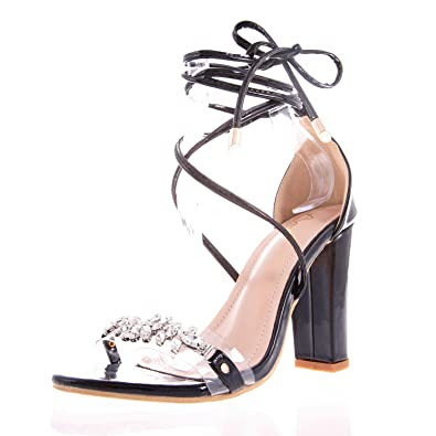6de77c75db410 AIIT Women's Lace Up Chunky High Heels Sandals Shining PU One Band Pearl  Flower Open Toe Cross Strap Pump Fashion Dress Party Wedding Shoes for Women  Size