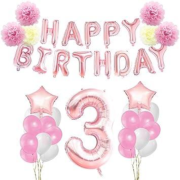 KUNGYO 3 años Oro Rosa Decoraciones de Fiesta de Cumpleaños - Happy Birthday Bandera de Globos, Globos de Aluminio Número y Estrella, Cintas ...