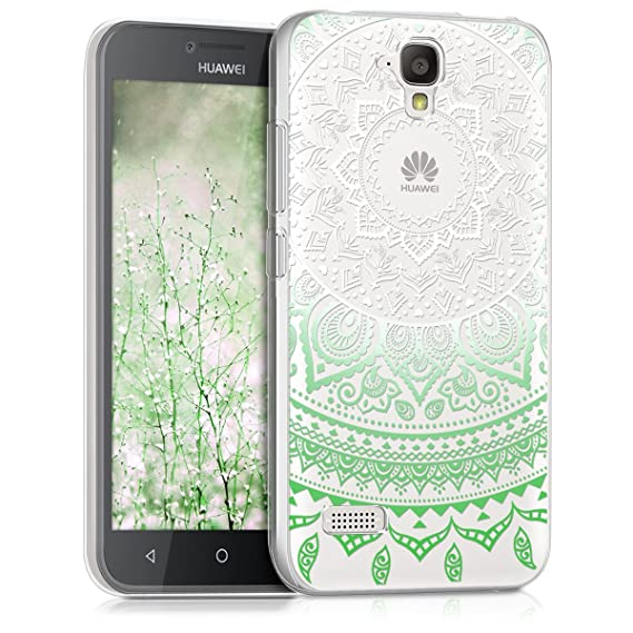 kwmobile TPU Silicone Case for Huawei Y5 - Crystal Clear Smartphone Back Case Protective Cover - Mint/White/Transparent