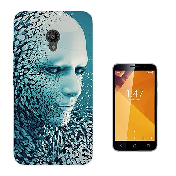 003744 - 3D Fantasy Face Abstract Design Vodafone Smart Turbo 7 Fashion Trend CASE Gel Rubber