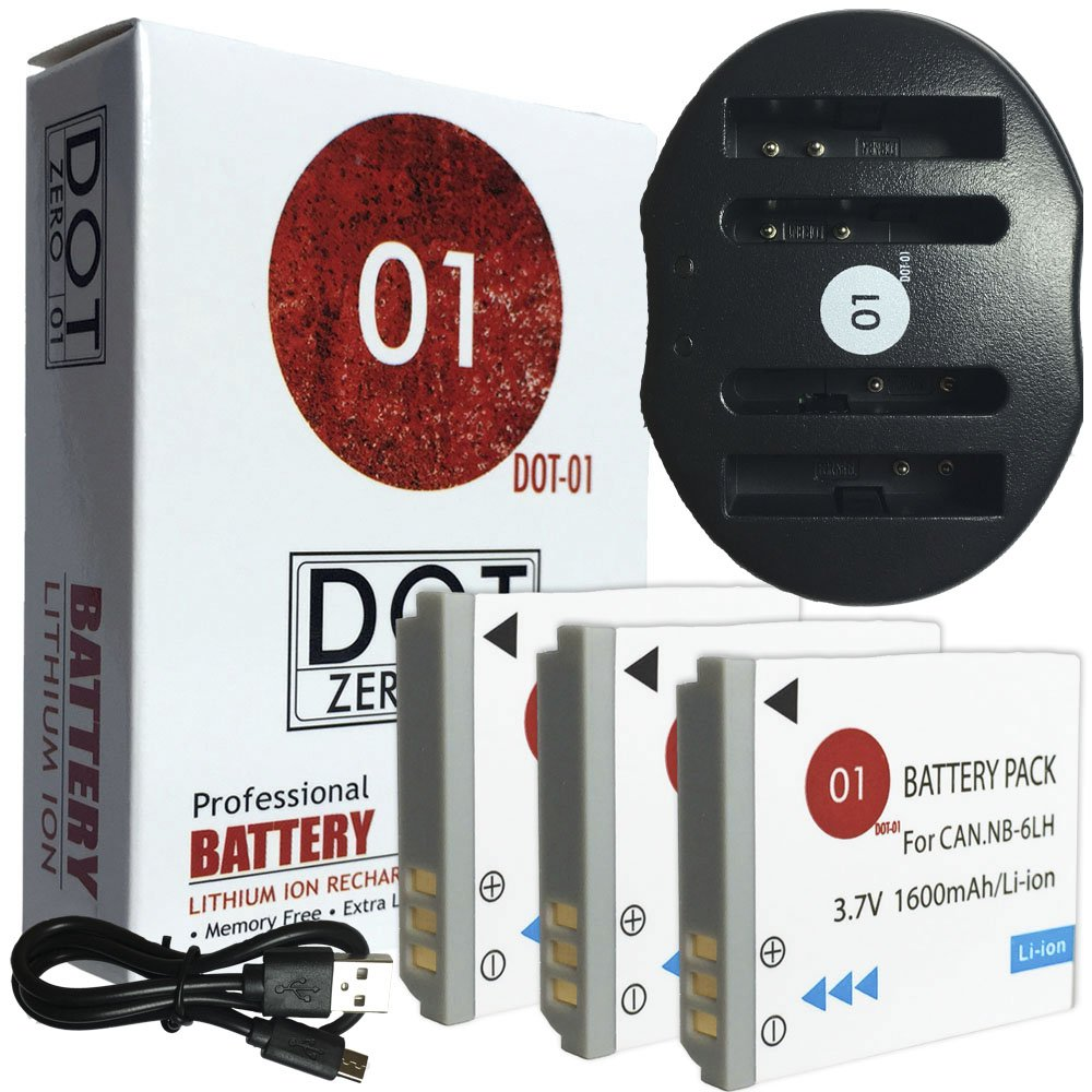 DOT-01 3x Brand 1Replacement Canon NB-6L Batteries and Dual Slot USB Charger for Canon SX530 HS Digital Camera and Canon NB6L