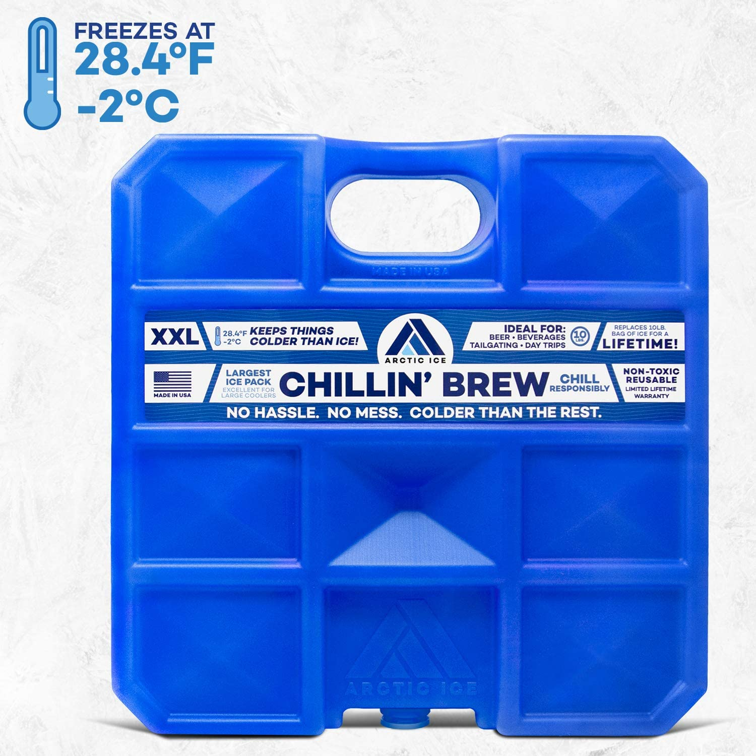 Arctic Ice Chillin' Brew Series Reusable Ice Pack for Coolers, Lunch Boxes, Camping, Fishing, Hunting and More, Freezes at 28F - XX-Large (10 LBS)