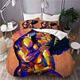 ROSECNY Modern Newest Style Quilts Cover Set Love Black Couple African American King Queen Make Love 3 Pieces Luxurious Zippe