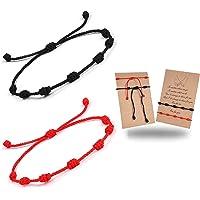 CASSIECA 8 Pcs Pulsera Roja 7 Nudos Amuleto Kabbalah Pulsera Ojo Turco con Mano de Fatima Hamsa Pulsera Hilo Rojo de la…