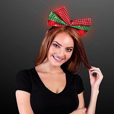 Sequin Light Up Green & Red Christmas Bow Headband: Beauty