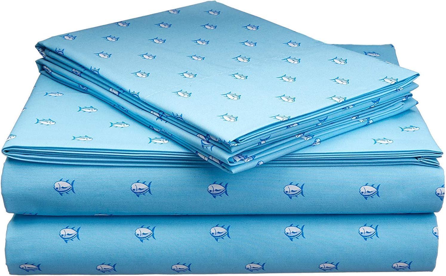Southern Tide Printed Cotton Sheet Blue Topaz, King