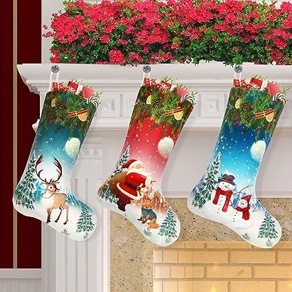 Amazon Com Libay 3 Pack Christmas Stockings 18 Xmas Stockings Set