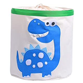 Injoy Large Cotton Storage Bin,17″(Dia.) x 18″(H), Collapsible Round Organizer Waterproof Gift Basket with Handles and Lid for Baby Nursery, Kids Toys, Laundry, Clothes (Blue Dinosaur)