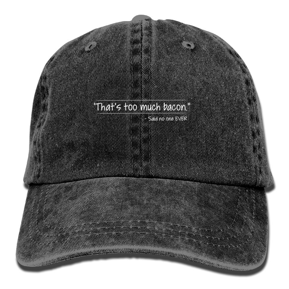 Thats Too Much Bacon Plain Adjustable Cowboy Cap Denim Hat for Women and Men