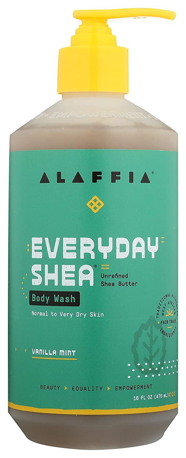 Alaffia EveryDay Shea Body Wash - Naturally Helps Moisturize and Cleanse without Stripping Natural Oils with Shea Butter, Neem, and Coconut Oil, Fair Trade, Vanilla Mint, 16 Fl Oz