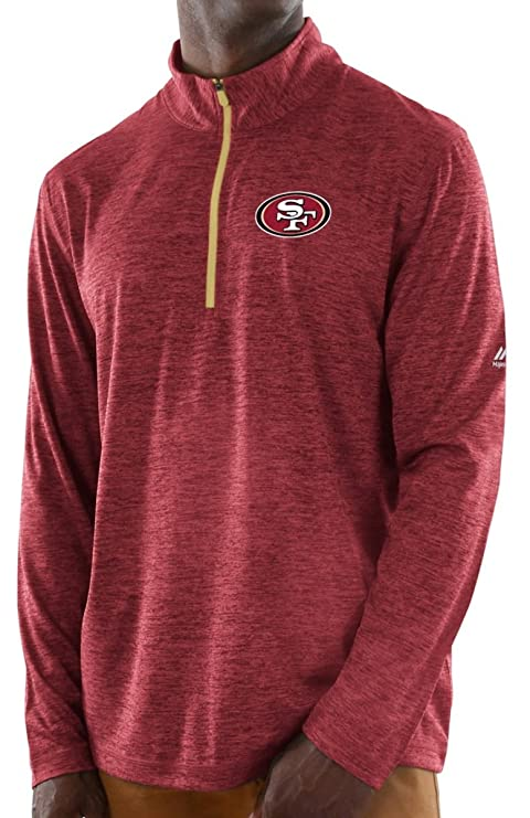 e361b96d Majestic San Francisco 49ers NFL Play to Win 1/2 Zip Mock Neck Pullover  Shirt