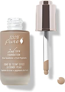 product image for 100% PURE 2nd Skin Foundation, Shade 6, Full Coverage, Lightweight, Blendable Formula, Satin Finish, Absorbs Oil, Anti-Aging, Natural, Vegan Makeup (Neutral w/Cool Undertone) - 1.18 Fl Oz