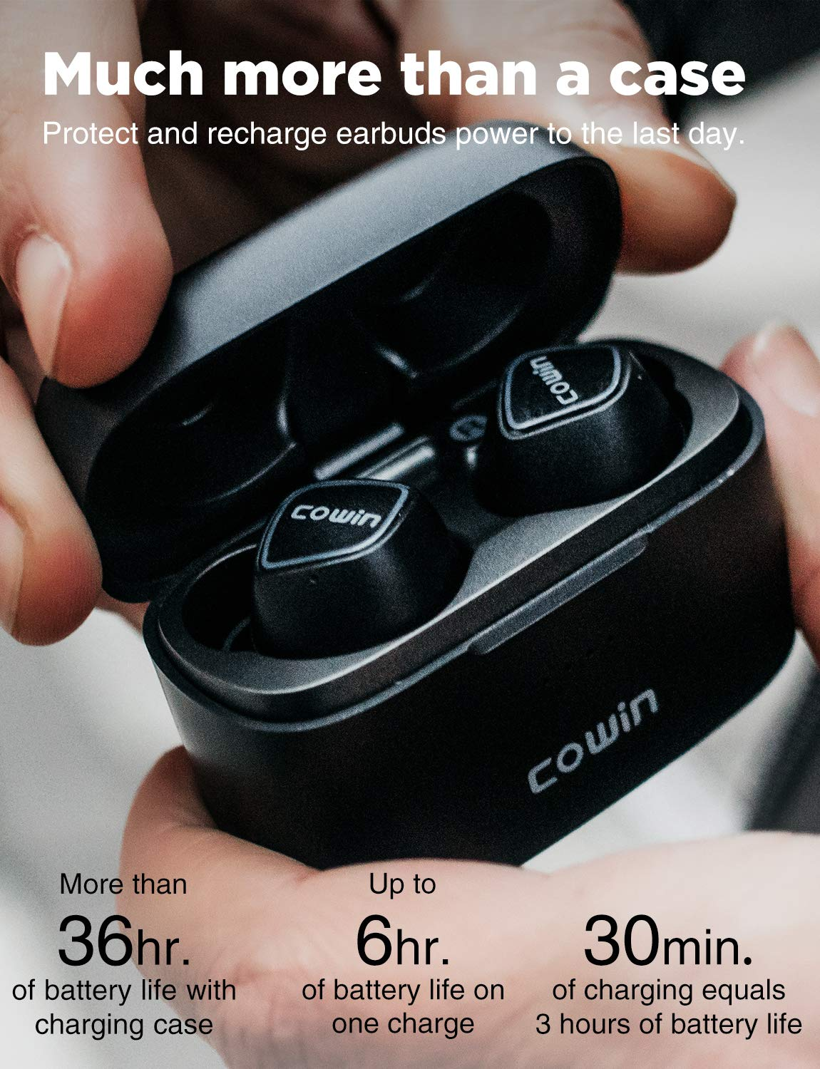 COWIN KY02 Upgraded Wireless Earbuds True Wireless Earbuds Bluetooth Headphones with Microphone Bluetooth Earbuds Stereo Calls Extra Bass Touch Control 36H for Workout Charging Case Included – Black