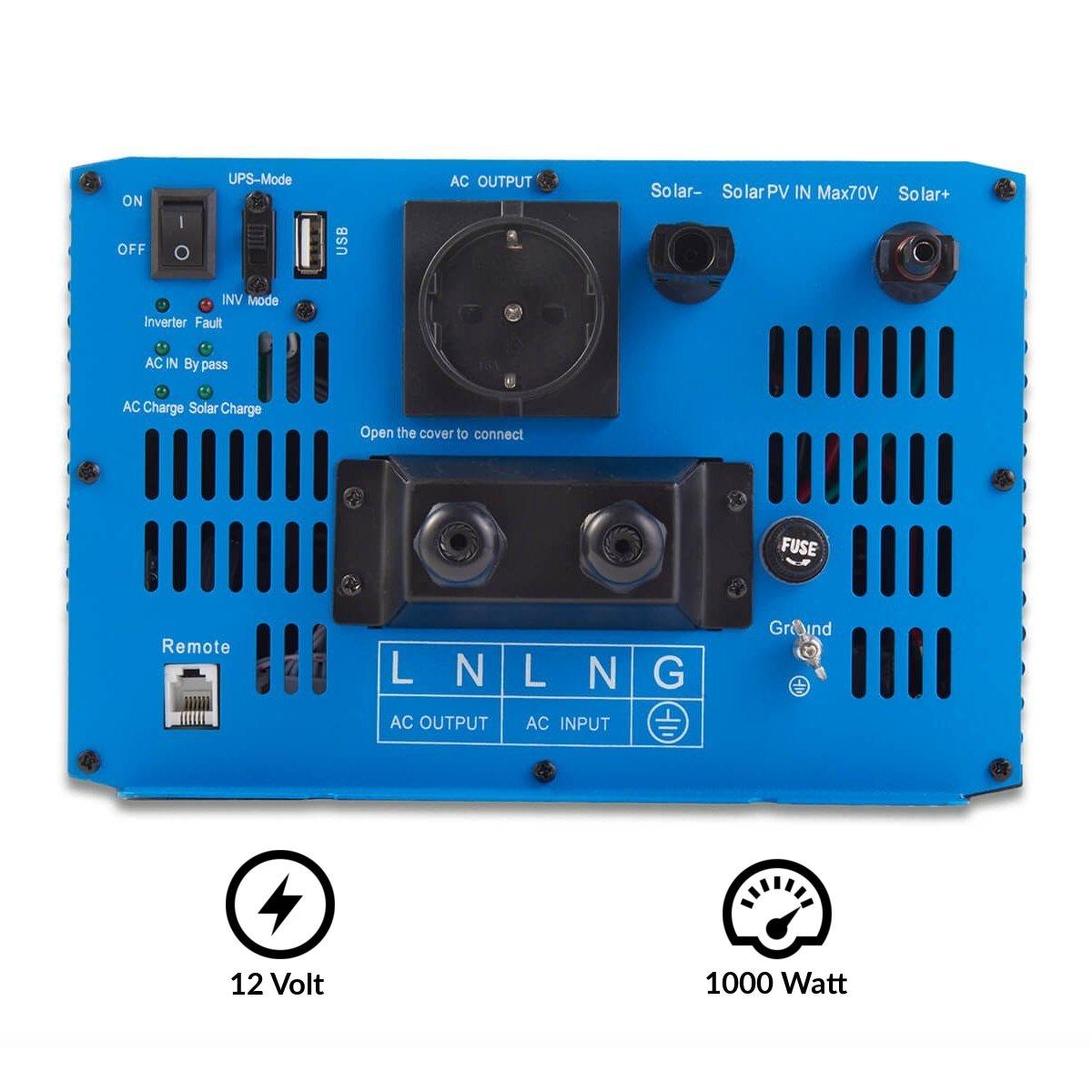 5 Varianten: 1000W ECTIVE SSI-Serie Sinus Wechselrichter 1500W mit Ladeger/ät 3000W Reiner 12 Volt Spannungswandler DC zu AC Solar Batterie Inverter 12 V MPPT-Solarladeregler und NVS 12V auf 230V