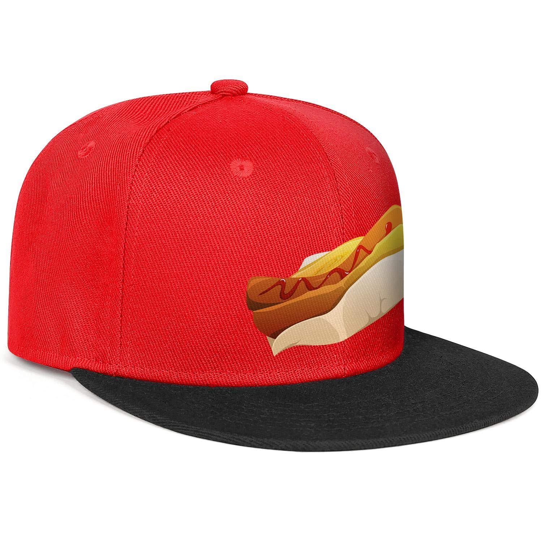 Unisex Mesh Snapback Cap National Hot Dog Day Flat Bill Hip Hop Baseball Hats