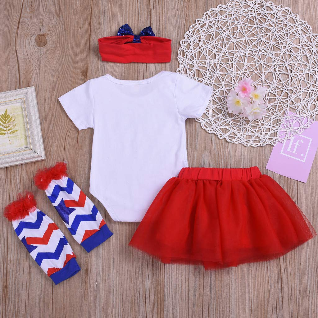 8b6b03474580 ... Baby Girls Bodysuit Clothes for Newborn Infant Baby Boys 4th of July  Letter Tops Tulle Sequin Skirt Hairband Leg Warmer Outfit : Sports &  Outdoors
