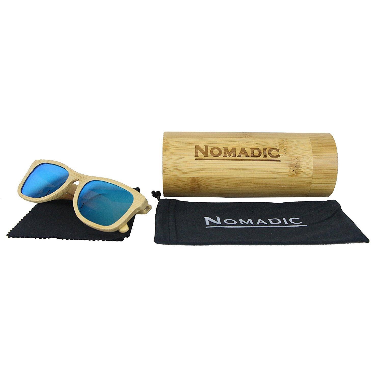 Nomadic bamboo sunglasses with bamboo case (Large, Green) The Nomadic Traveler