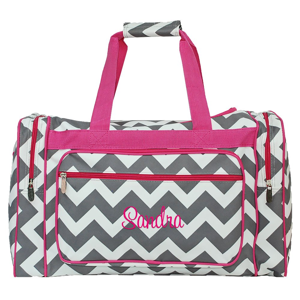 Personalized 20'' Chevron Print Womens Duffel Bags (Grey Chevron Pink Trim)