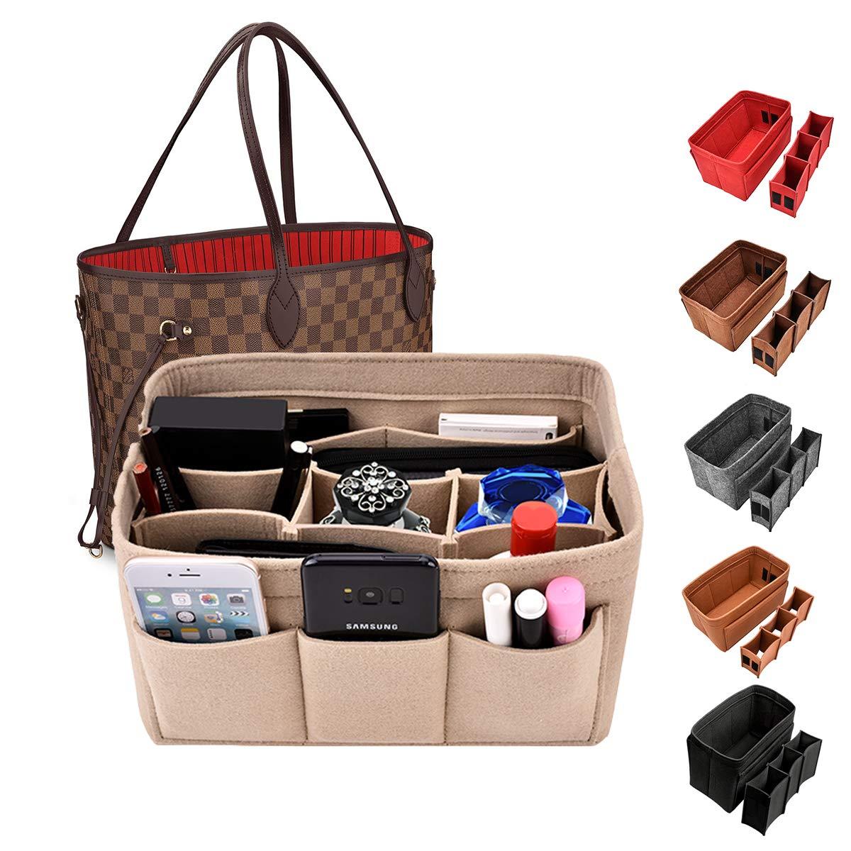 Kumako Handbag Organizer Bag In Bag For Felt Insert Purse Organizer Insert Bag Felt Fabric Purse Organizer for Handbag Tote Bag(12Pockets,3color,Medium)