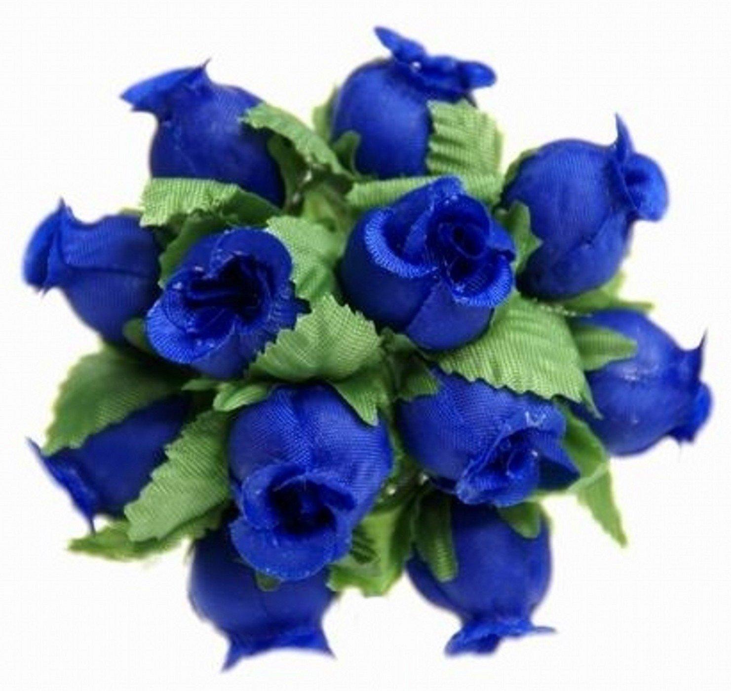 144 Miniature Poly Rose Silk Favor Flower Pick Wedding Shower - Royal Blue