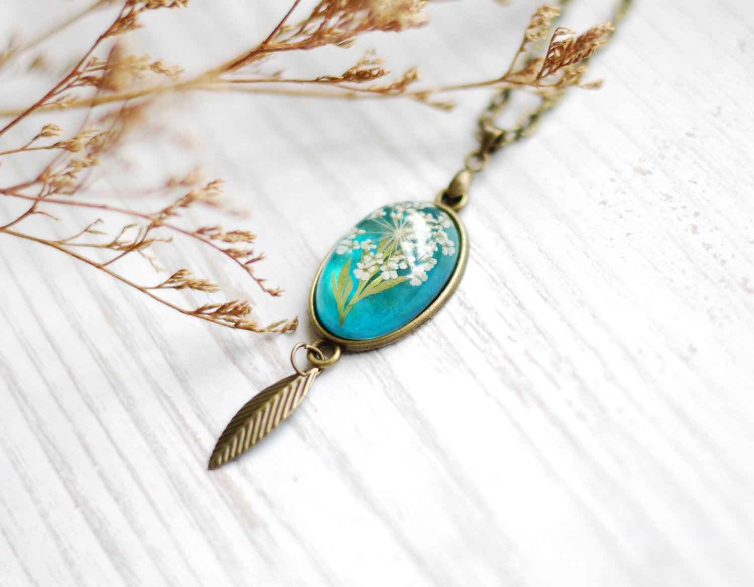Turquoise Real Flower Necklace Eco Friendly Resin Peacock Blue Pressed Flower Leaf Jewelry Crystal Clear Dainty Gift for Her