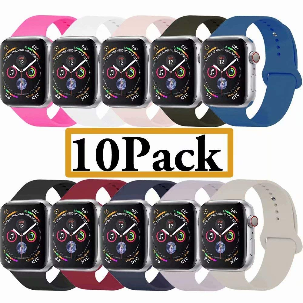YANCH Compatible with for Apple Watch Band 38mm 40mm, Soft Silicone Sport Band Replacement Wrist Strap Compatible with for iWatch Nike+,Sport,Edition,S/M,10 Pack