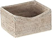 La Jolla Rattan Organizing & Shelf Basket, White Wash