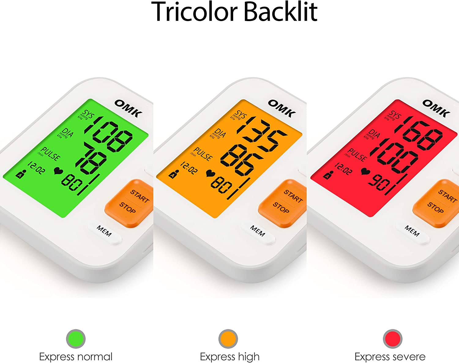 Blood Pressure Monitor Upper Arm Tricolor Backlit, OMK Automatic BP Monitor with Cuff 8.7-15.7in, 2×120 Memories, Irregular Heartbeat Detection, Accurate and Easy to Use, FDA CE Approved