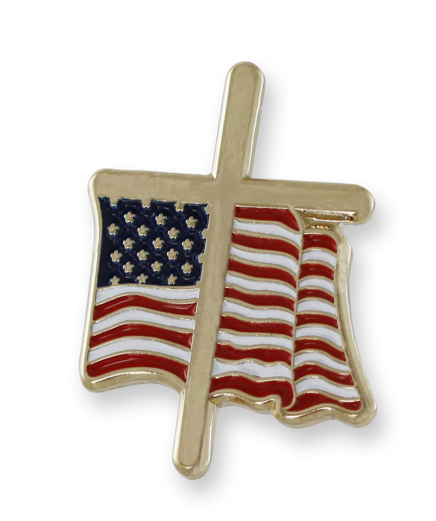 American Flag with Religious Cross Lapel Pin (50 Pins)