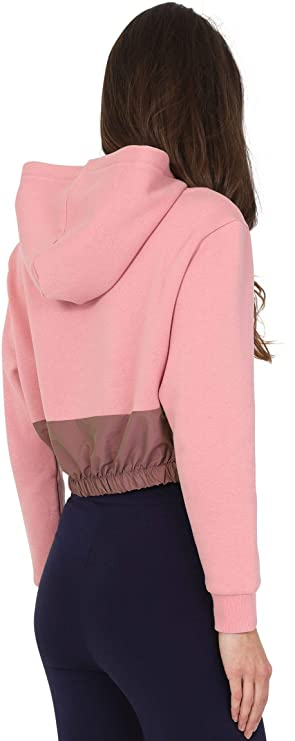 92c4ad17ae9 Fila Women Dora Iridescent   flecce Mix Crop Hoody 684262 A005   Amazon.co.uk  Clothing