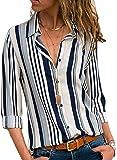 Minetom Donna Camicetta Chiffon Blusa Elegante Camicia Manica Lunga Scollo V Camicetta Camicia Bavero Elegante Bluse