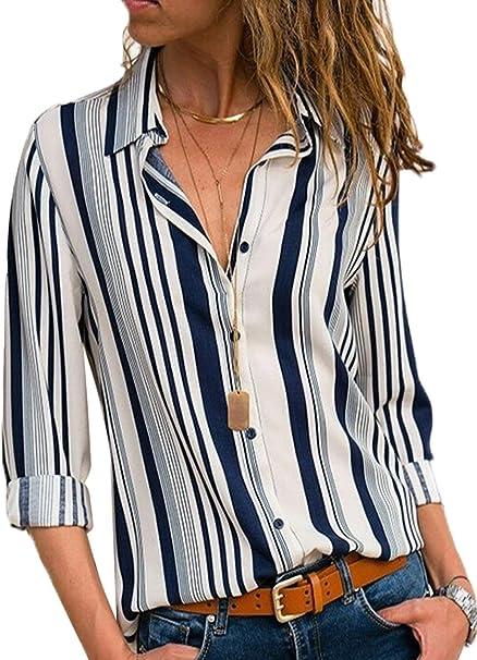 Modasua Camicia Donna a Manica a 3//4 Top Chiffon Blusa Elegante Camicetta Manica Lunga Scollo V Camicetta Camicia Bavero Elegante Bluse Casual Camicette