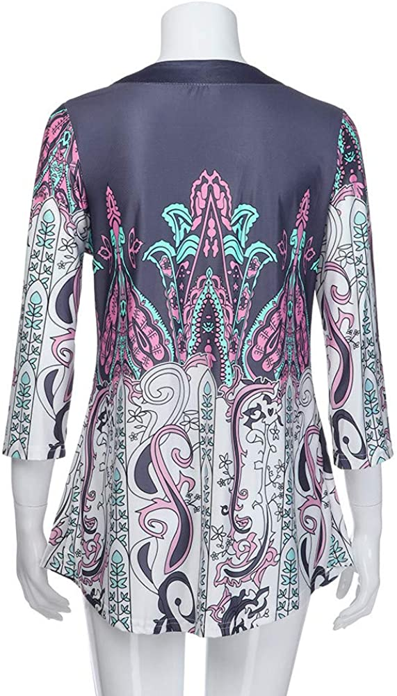 MISYAA Casual Bell Sleeve Tunic Shirts Tops for Women Crewneck Pullover Indian Floral Print Dressy Blouse Only Left Tank Top